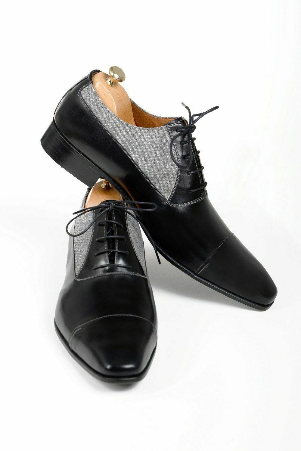 Handmade Men's Black Leather and Tweed Two Tone Dress/Formal Oxford Shoes