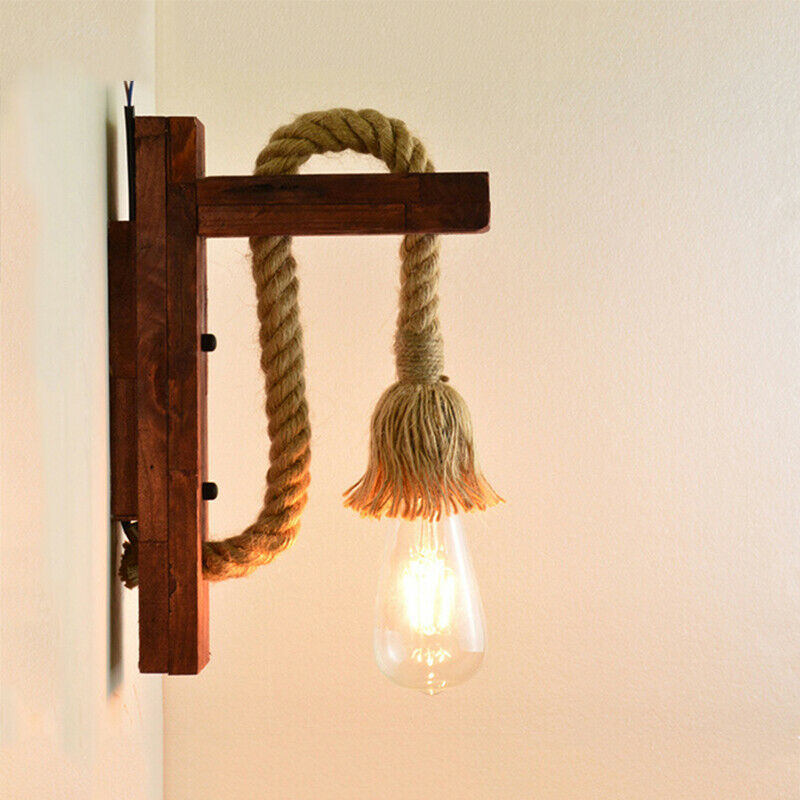 Primary image for Industrial Vintage Wall Lamp Led Lamp Lighting Fixtures Rope Wooden Wall Lights