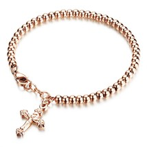 Silver Rose Gold Plated Stainless Steel Beads Crucifix Cross Charm Brac... - $41.65