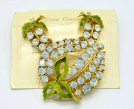 Opalescent Rhinestone Green Enamel Flower Brooch Earring Set Vintage - $39.59