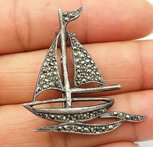 925 Sterling Silver - Vintage Marcasite Sail Boat Motif Brooch Pin - BP2746 - $27.21