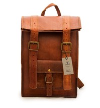 """New 15"""" Pure Vintage Rustic Leather Brown Unisex Travel Rucksack Backpac... - $64.17"""