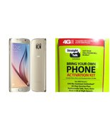"Straight Talk Samsung Galaxy S6 ""Platinum Gold"" 32GB runs on Verizon's 4... - $244.44"