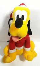 DISNEY Plush Santa Pluto Large Christmas Holiday Stuffed Animal Mickey M... - $21.76