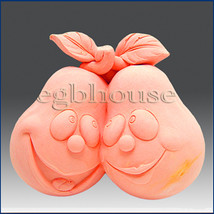 2D silicone Soap/polymer/clay/cold porcelain mold–  A Pair of Pears - $41.58