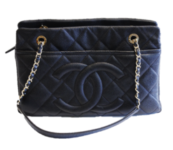 Chanel Caviar Leather Black Quilted Shoulder Bag Gold  Hardware  2014 Purse - $3,910.50