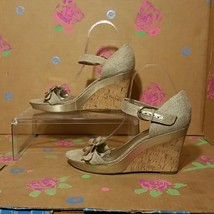 Vintage AK Anne Klein Tan Sandals With Floral Embellishments Size 9M  - $29.99