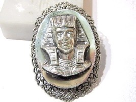 PIN OR PENDANT SILVER TONE RAISED DESIGN TUTANKHAMEN PHARAOH EGYPTIAN - $19.00