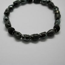 Silver Bracelet 925 Hematite to Skull and Lava BSK-2 Made in Italy by Maschia image 3