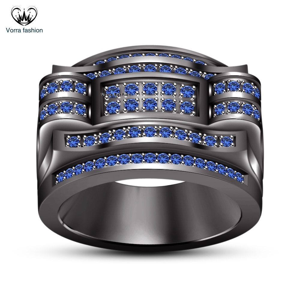 Elegant 925 Silver 14K Black Gold Finish Round Cut Blue Sapphire Men's Band Ring