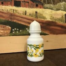 Vintage Avon Salt Sachet Jar Green Floral Milkglass - $5.99