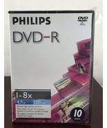 Philips DVD-R 1-8x/ 4.7GB/ 120 Min./10 Discs - $9.50
