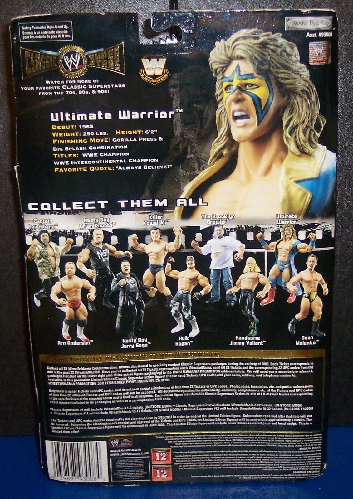 """NEW! 2006 Classic Superstars Series #12 """"Ultimate Warrior"""" Action Figure {1386}"""