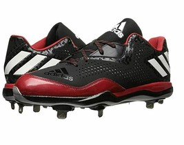 NEW Adidas PowerAlley 4 Size 14 Mens Baseball Metal Cleats Q16483 Black Red NWOB - $40.00