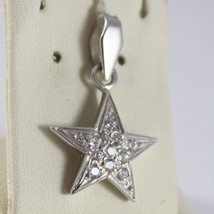 SOLID 18K WHITE GOLD STAR PENDANT WITH ZIRCONIA ROUND CUT, MADE IN ITALY image 2