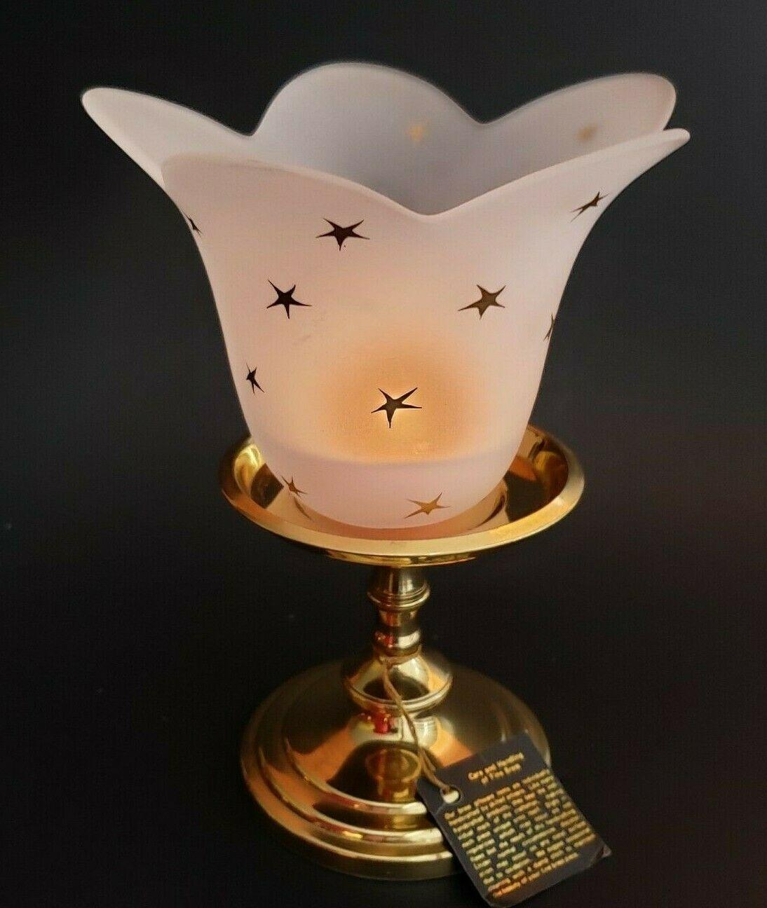 Stellar Blossom Candle Holder White Handblown Glass Gold Stars Partylite P0452