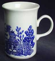 "CHURCHILL ""BLUE WILLOW"" COFFEE MUGS SET/2 10 OZ. WHITE/BLUE MADE IN ENGLAND NEW  - $199.50"