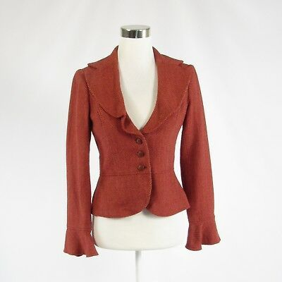 Primary image for Dark orange herringbone DAVID MEISTER bell sleeve jacket 4