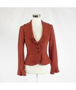 Dark orange herringbone DAVID MEISTER bell sleeve jacket 4 - $54.99