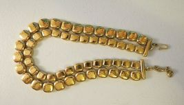 """Monet Necklace Gold Plated Double Links 17"""" Designer Square Hammered NICE image 7"""