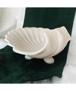 "Vintage Pink Glass Footed Pedestal Seashell 10"" Center Bowl Fruit Flowers - $34.10"