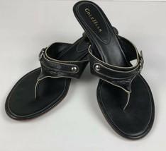 Cole Haan Women's Size 9 B Slip On Black Thong Sandals Decorative Buckle... - $21.11