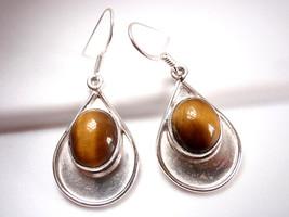 Tiger Eye Oval Earrings 925 Sterling on Silver Teardrop Dangle Drop New - $20.74