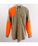 Cabelas Khaki and Reflective Orange L/S Button Front Work Shirt Mens Sz L - $26.11