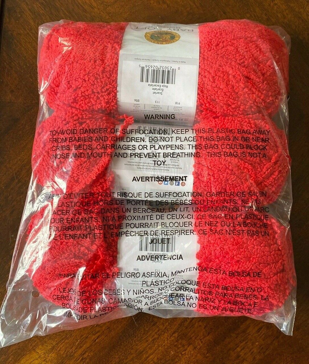 Primary image for Lion Brand Baby Soft Boucle Yarn Scarlet 113 THREE Skeins NEW sealed