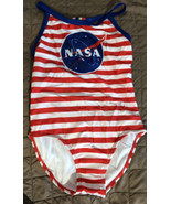 NASA Girl's One Piece Swimsuit Size Small 6/6X Red Stripe - $11.40