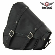 REAL LEATHER Left Side Swing Arm Bag  W/ HEAT RESIS. BOTTOM For Harley D... - $71.02