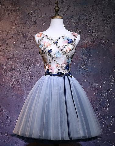Gray blue tulle short prom dresses, tulle homecoming dresses,PD0909