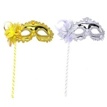 Fciqven 2Pcs Fashion Masquerade Mask on Stick, Feather (Gold & Silver) - £10.15 GBP
