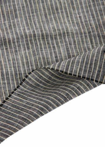 55'' Wide Home Linen Fabrics Striped Flax Fabric Black (17.5 55 Inches)