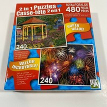 Challenging 2 in 1 480 pc puzzle Gazebo At Ghautauqau and Colorful Firew... - $10.38