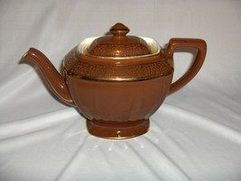 Vintage Hall Teapot Hollywood Regency Chocolate Brown Gold Vtg 1930s 5 C... - $64.35