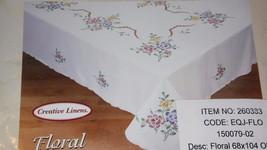 CREATIVE LINENS HANDBRUSHED FLORAL EMBROIDERED  ROSES DESIGN 68X104 NIB - $19.79