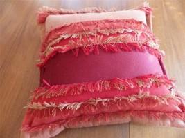 """Decorator Throw Pillow Square Red Orange Fringe 18"""" - $27.72"""