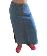 Hand-Embroidered Jean Maxi-Skirt - $15.00