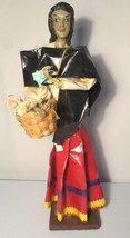 Vintage Xalisco Mexico Paper Mache Statue Woman selling flowers out of b... - $30.00