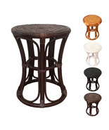 Round Rattan Wicker Stool Tom Color White. Handmade Eco-Friendly Materials - $61.99