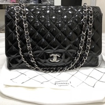 AUTHENTIC CHANEL BLACK QUILTED PATENT LEATHER MAXI CLASSIC SINGLE FLAP BAG SHW
