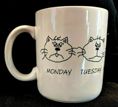 Hallmark Cat Faces Coffee Mug, Days of Work Week Monday - Friday, White ... - $13.35