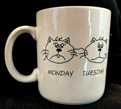 Hallmark Cat Faces Coffee Mug, Days of Work Week Monday - Friday, White w/ Cats - $13.35