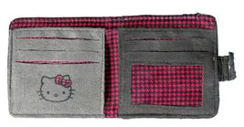 "4"" Sanrio Hello Kitty Grey Micro Suede Flap Wallet Magenta Houndstooth Bow NWT image 4"