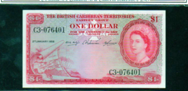 "BRITISH CARIBBEAN TERRITORIES P7c $1 ""MAP NOTE"" 1958 GRADED XF - $145.00"