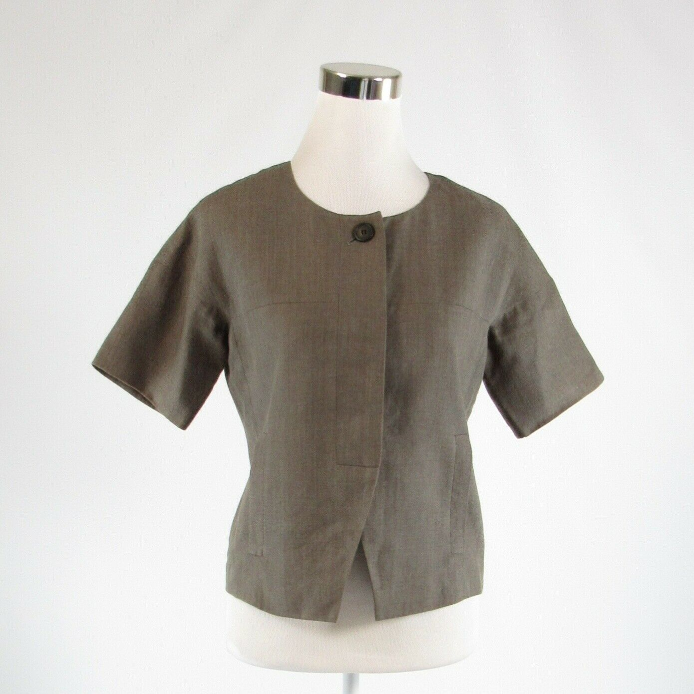 Primary image for Taupe 100% linen J. CREW short sleeve blazer jacket 2