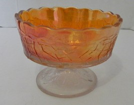 Carnival Glass Fenton Peacock Tail Maple Leaf Marigold Sherbert Dessert ... - $16.71