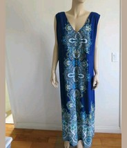 LIZ LANGE BLUE MULTI FLORAL DOUBLE V NECK EMPIRE SLEEVELESS MAXI DRESS Sz L - $15.35
