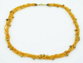 Topaz Glass Seed Bead Beaded Multi-Strand Gold Tone Necklace - $13.86